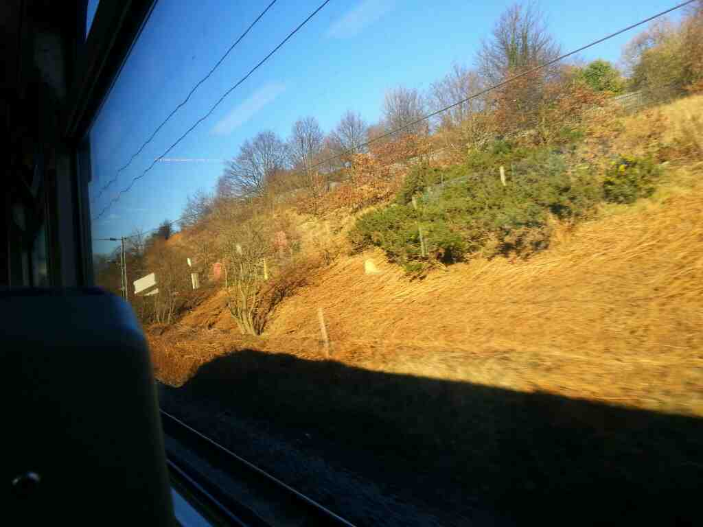 In a cutting between Outwood and Leeds on a Northern Rail Doncaster to Leeds train