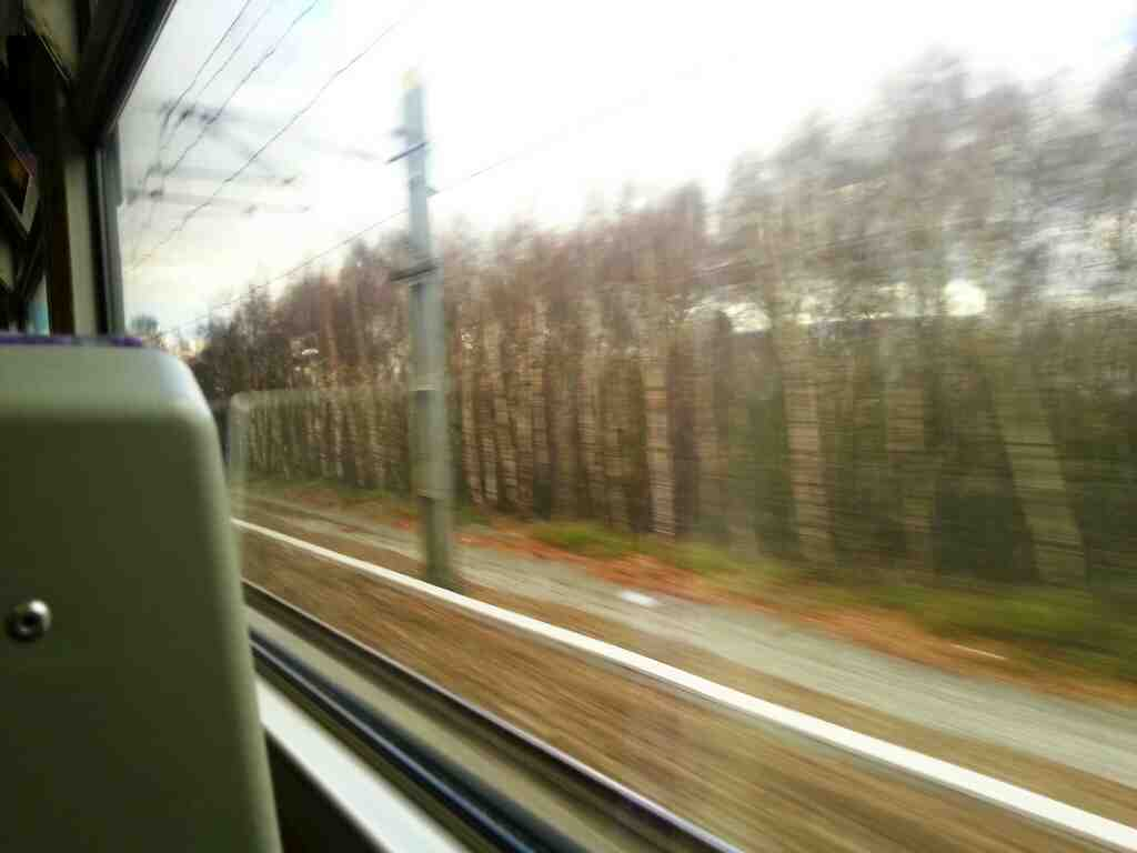 Gathering speed as we pull away from Fitzwilliam on a Doncaster to Leeds Train