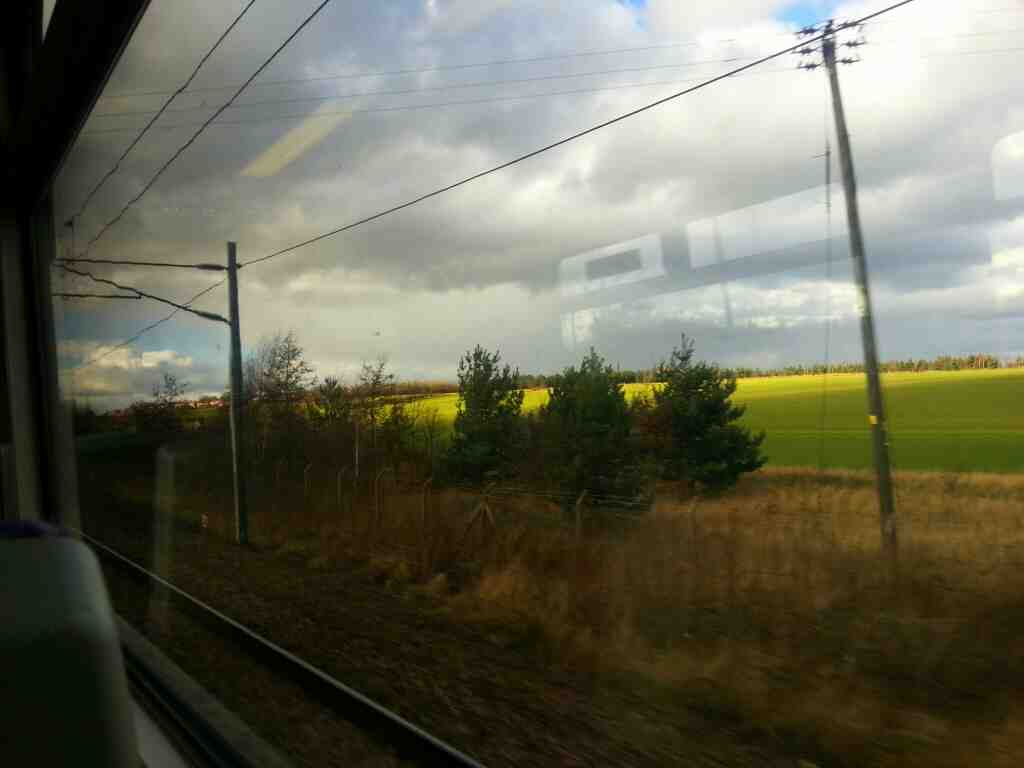 Between Fitzwilliam and Sandal and Agbrigg on a Doncaster to Leeds Train