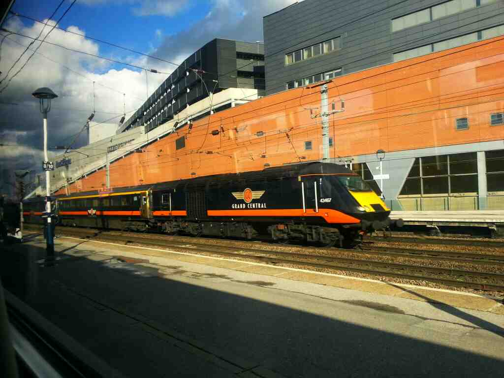 Non stop southbound Grand Central Inter City 125 speeds through Doncaster