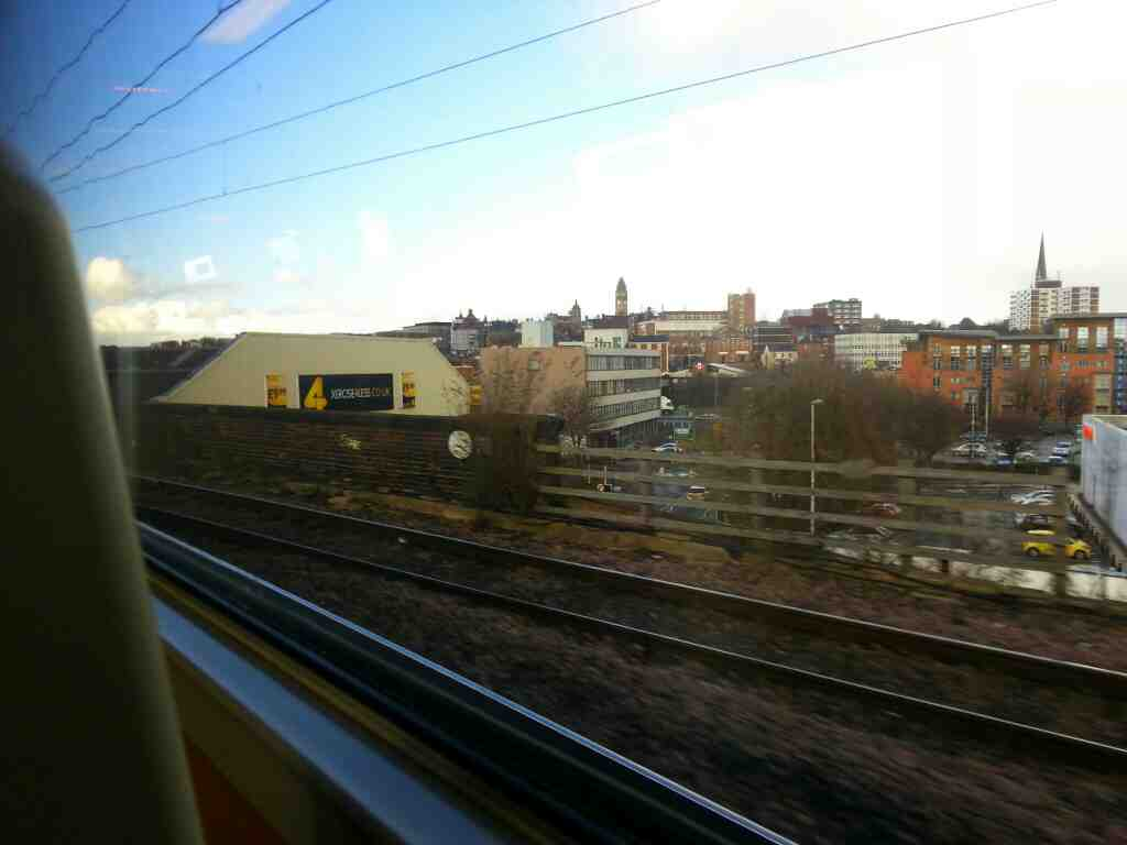 passing the line that links Wakefield Westgate and Wakefield Kirkgate on a Doncaster Leeds train