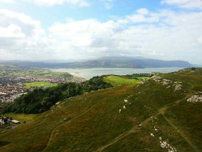 Conwy Estuary, Penmenbach headland, Pen-y-Clip Headland and Isle of Anglesey from the Great Orme Cable car