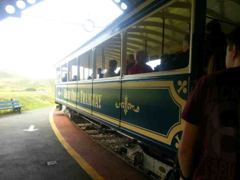 Tram awaits departure for summit at Half Way station Great Orme Llandudno