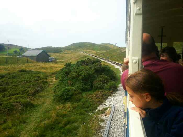 Tram climbing up the Great Orme