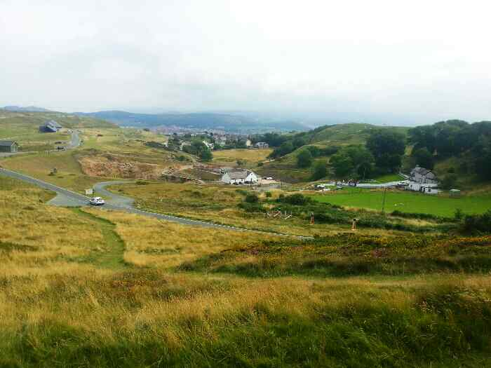 Looking back to Llandudno from a tram on the Great Orme