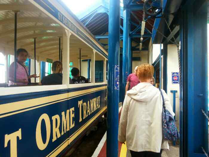 Disembarking from a Great Orme Tram at the summit