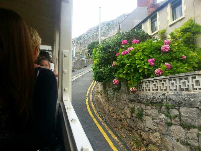 On a tram making our way up old Road