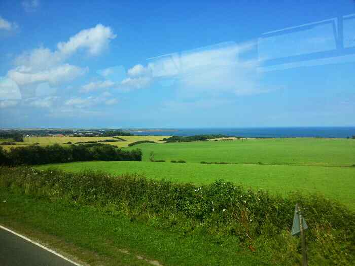View of the sea as we head down Butts Hill Reighton