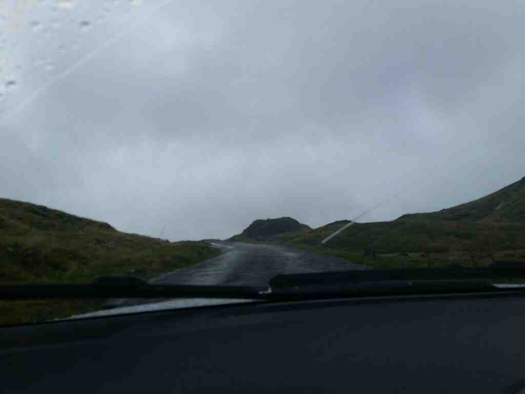 Almost at the summit of the Hardknott pass on a car ride over the Hardknott Pass and Wrynose Pass Cumbria