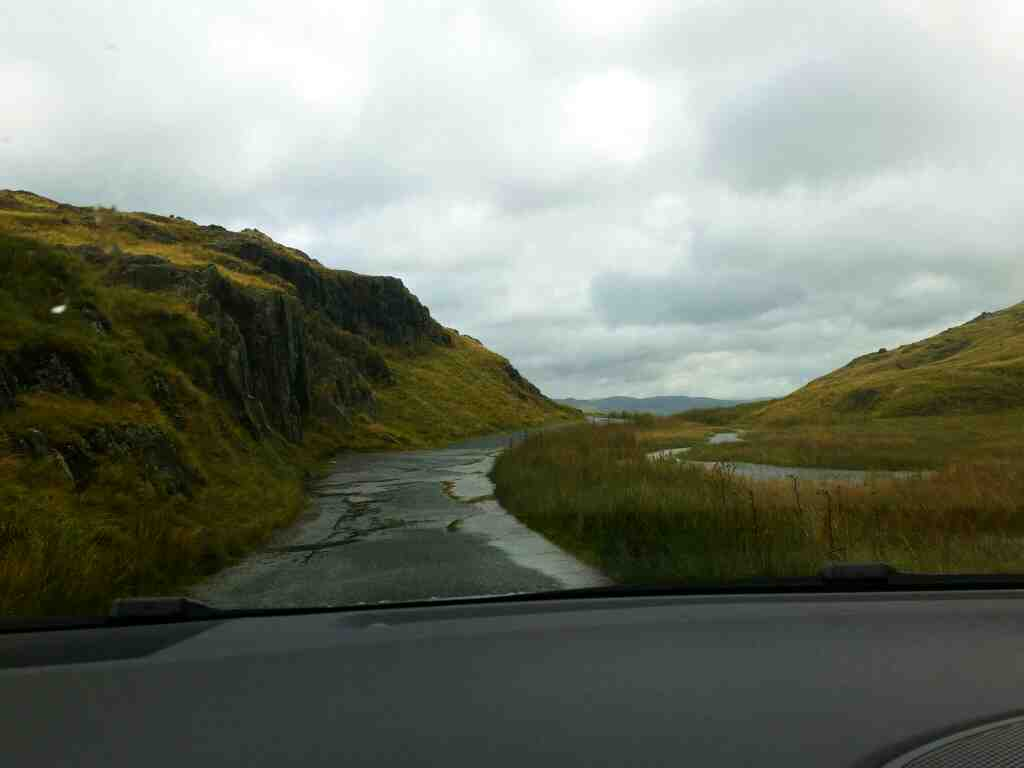 A piece of Flat Road on the Wrynose pass on a car ride over the Hardknott Pass and Wrynose Pass Cumbria