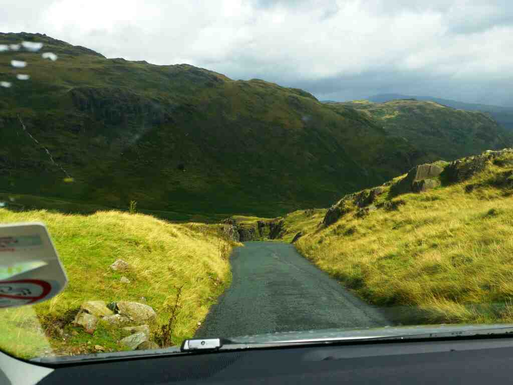 Descent of the Wrynose Pass on a car ride over the Hardknott Pass and Wrynose Pass Cumbria