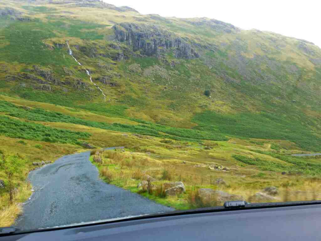 The steep Wrynose Pass Lakes England on a car ride over the Hardknott Pass and Wrynose Pass Cumbria