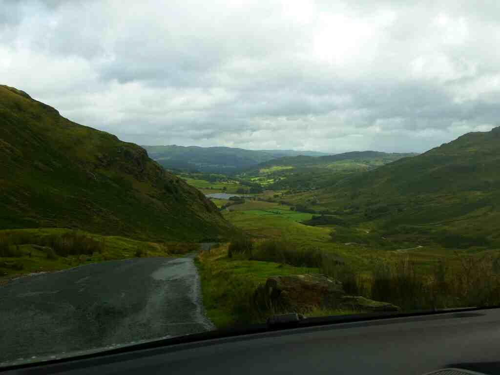 view of Langdale Dropping down the Wrynose Pass on a car ride over the Hardknott Pass and Wrynose Pass Cumbria