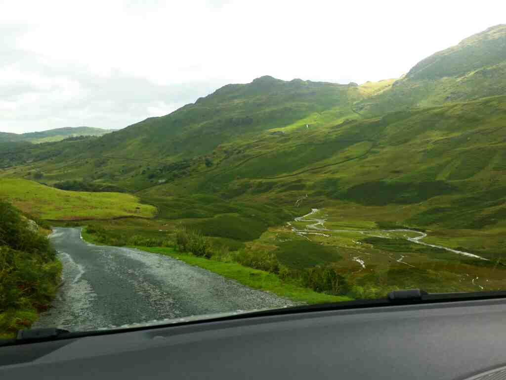 Lowering ourselves down the Wrynose Pass on a car ride over the Hardknott Pass and Wrynose Pass Cumbria
