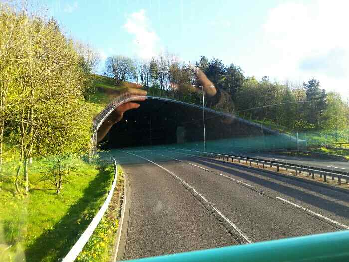 The A629 about to pass. under the M62