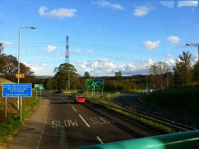 Approaching Ainley top roundabout