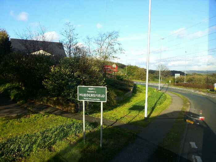 Entering Huddersfield at Ainley Top roundabout