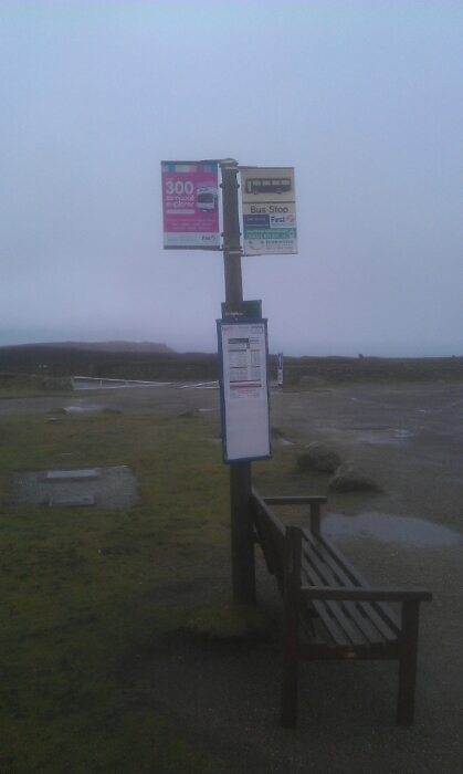 The last and first bus stop at Lands End Cornwall