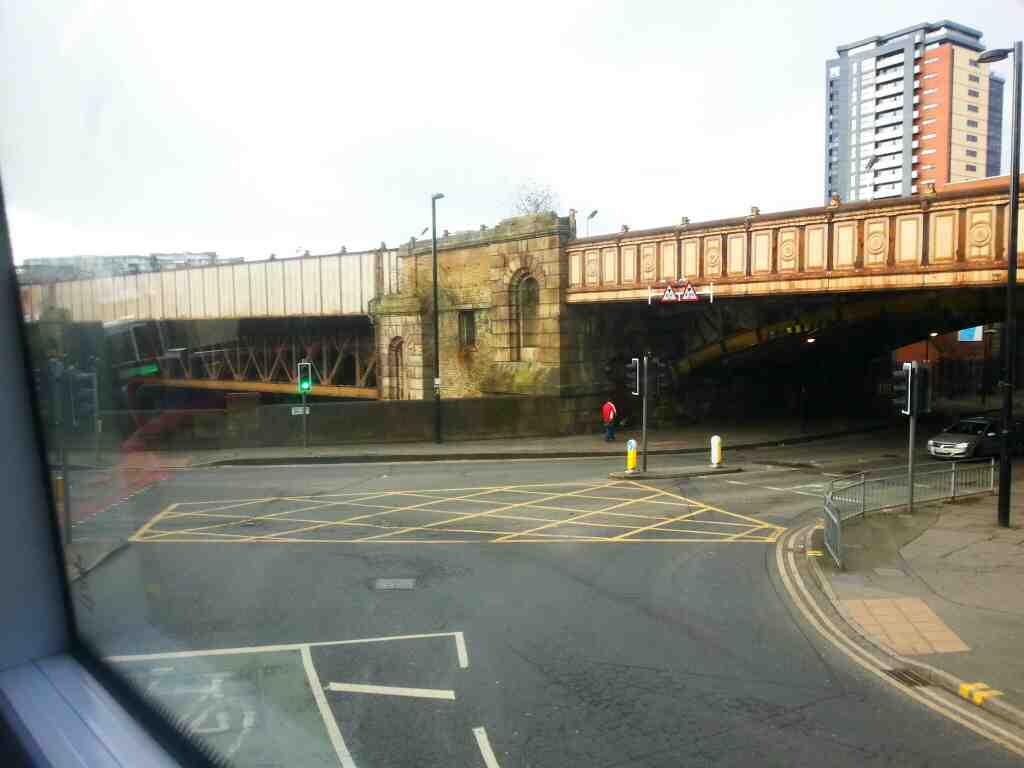 Junction of Hunts Bank and Victoria St Manchester off a number 8 bus