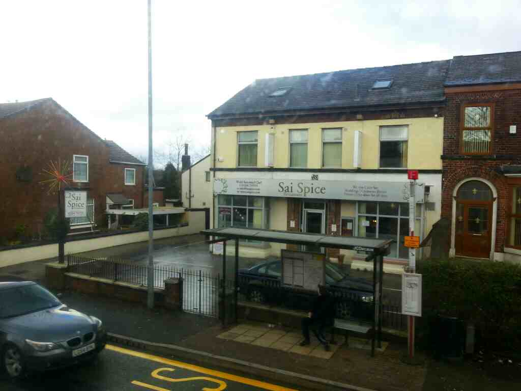 Passes the Sai Spice Bolton Rd Farnworth on a number 8 bus
