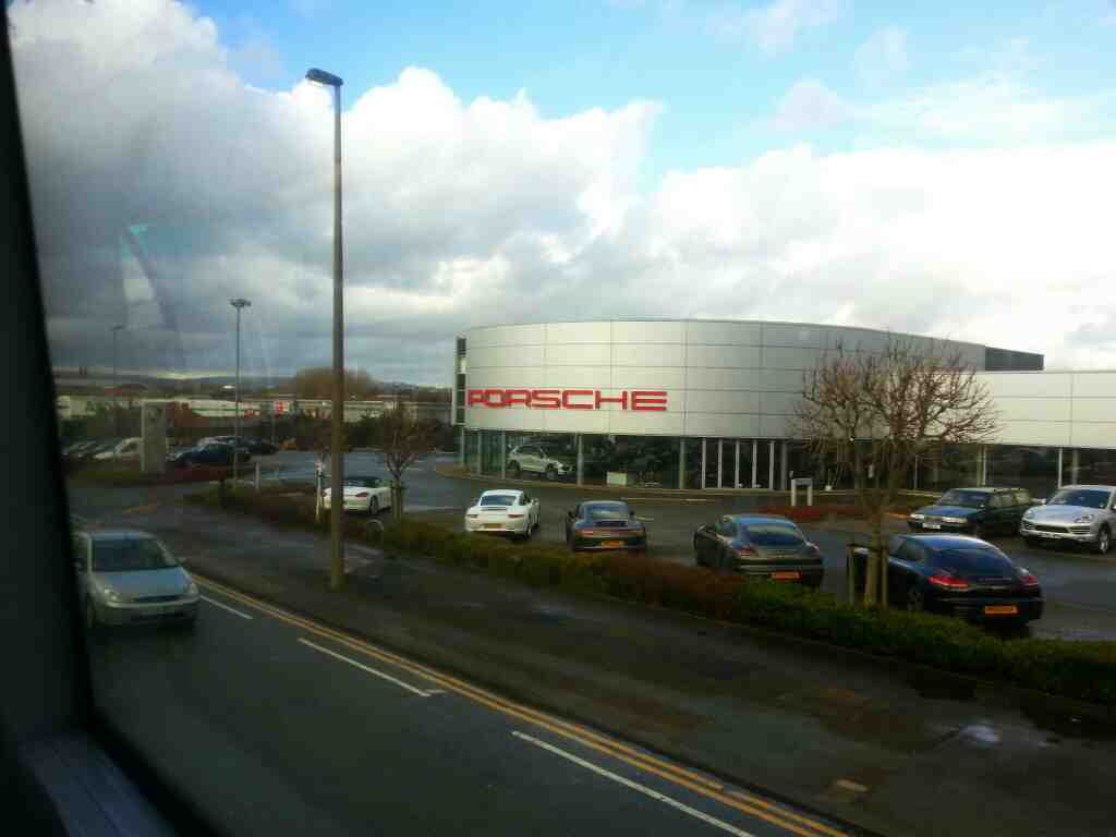 Passing the Porsche Centre Manchester Rd Bolton on a number 8 bus