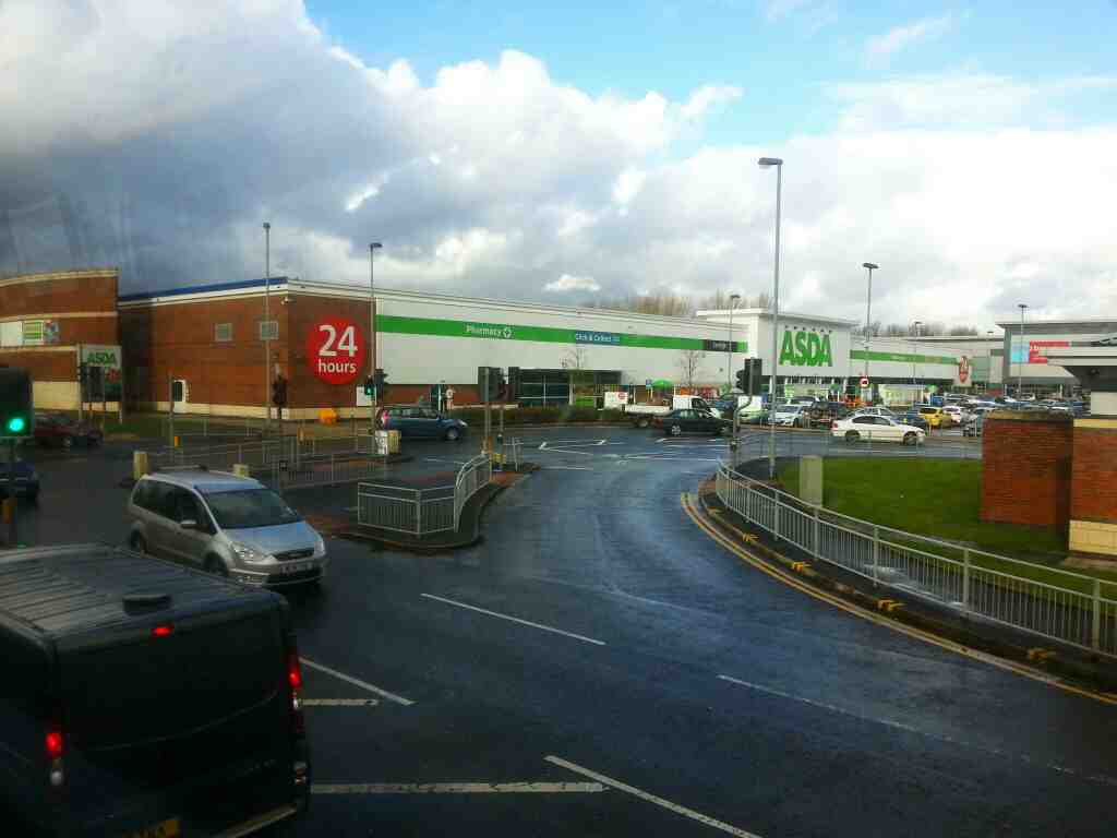 Passes Asda Manchester Rd Bolton on a number 8 bus