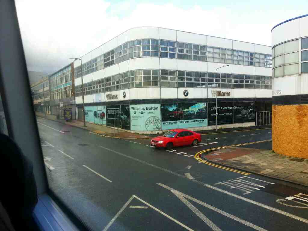 Bradshawgate Bolton on a number 8 bus passing the end of Shiffnall Street