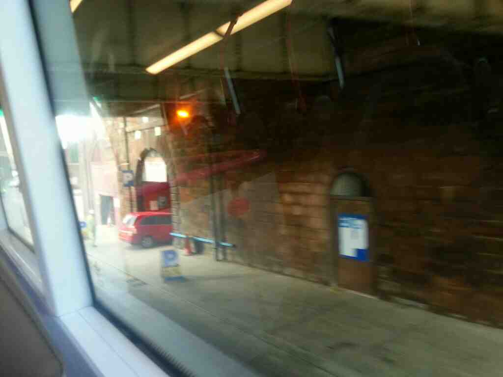 Passing under Cathederal Approach Manchester on Chapel St on a number 8 Bolton bound bus