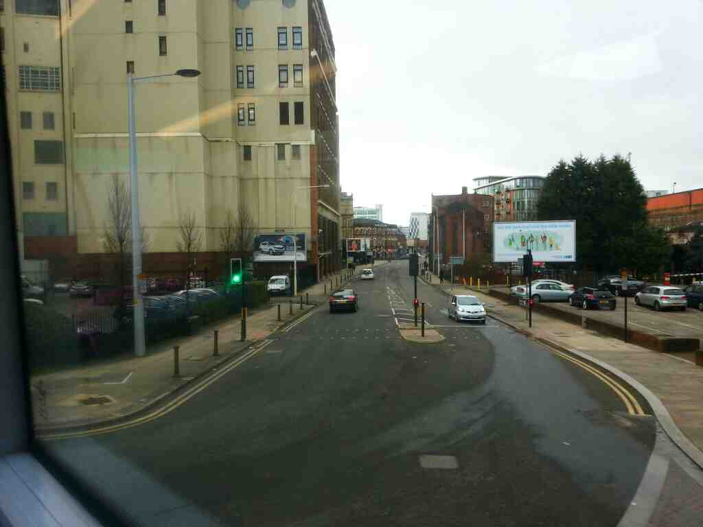 Junction of Chapel St and Victoria Bridge St Manchester off a number 8 bus