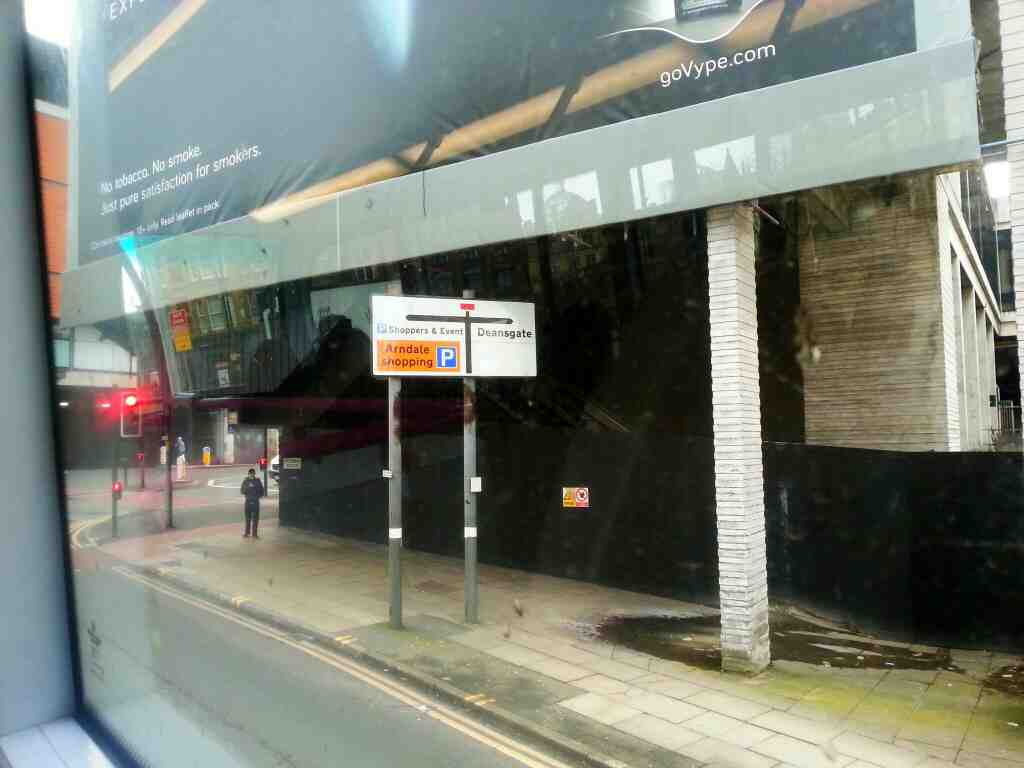 Victoria Bridge St and Deansgate Junction of Manchester on a number 8 bus