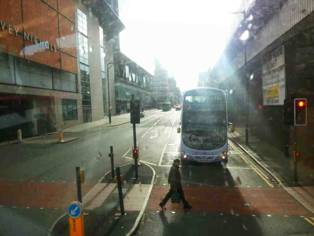 Turning right into Deansgate on a number 8 bus