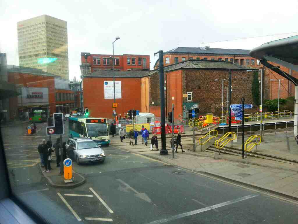 Shudehill Manchester Metrolink Station off an 8 Bolton bound bus
