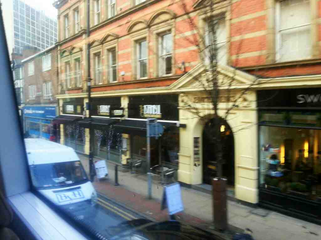 Passes Cafe Istanbul Bridge street Manchester on a number 8 bus