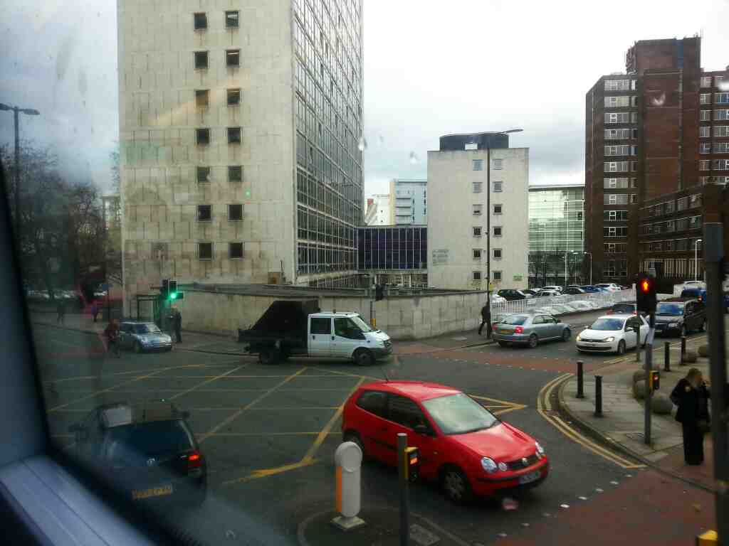 Junction of Bridge St and St Marys Parsonage Manchester seen from a number 8 bus