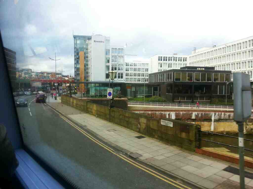 Crossing the River Irwell on Bridge St Manchester on a number 8 bus