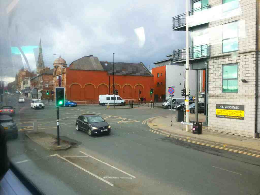 Crossroads of Chapel St and Trinity Way Salford on a number 8 bus