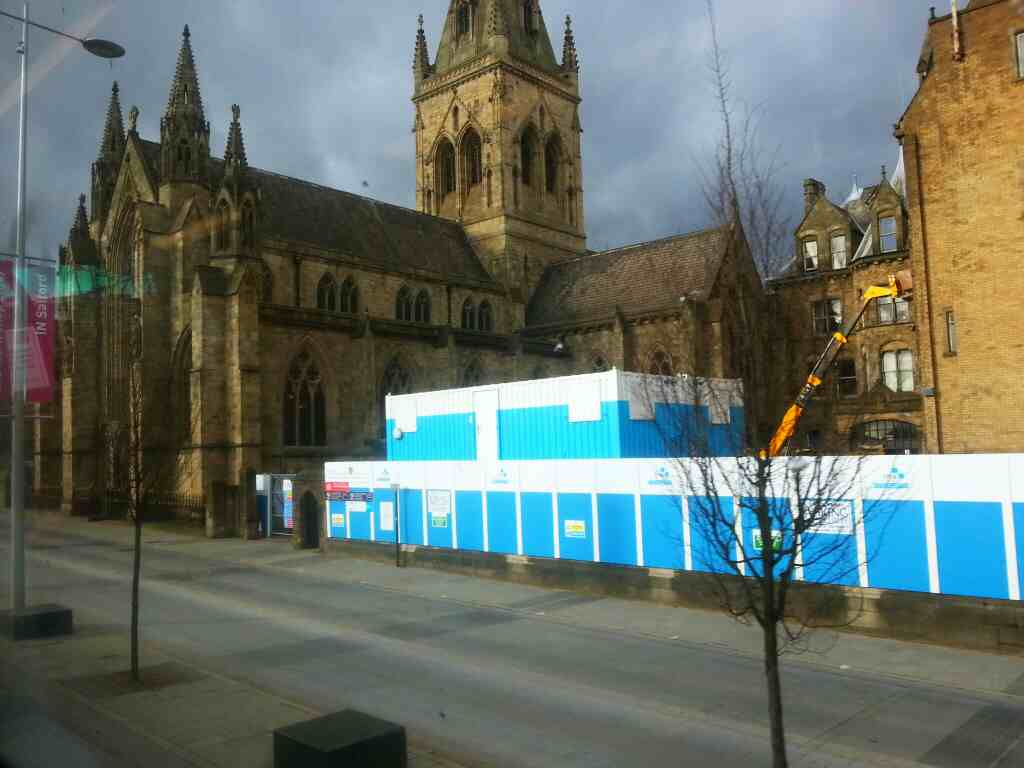 Passes Salford Cathederal the Church of St John the Evangelist on a number 8 bus Chapel St Salford