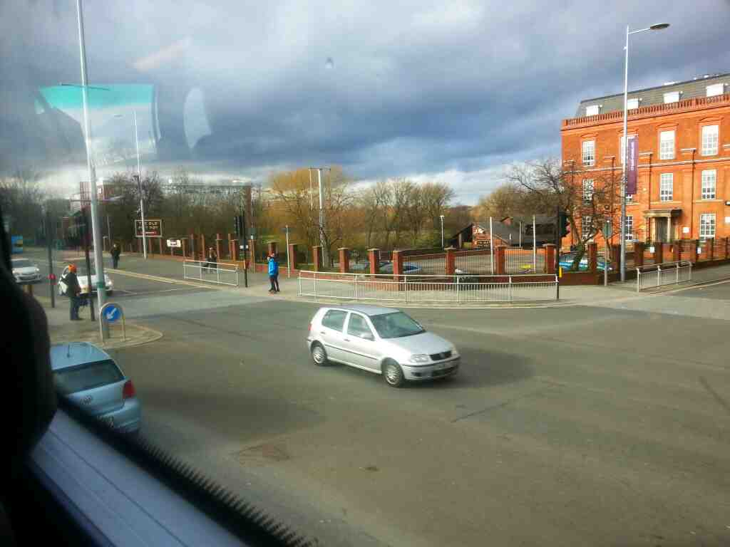 Junction of Crescent the A6 and Adelphi Street Salford on a number 8 bus