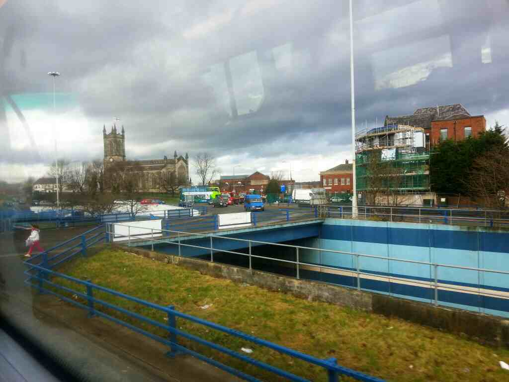 Pendleton Roundabout Salford on a number 8 bus