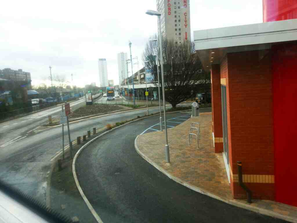 Hankinson Way Salford Shopping Centre Salford back of Kentucky Fried Chicken KFC on a number 8 bus