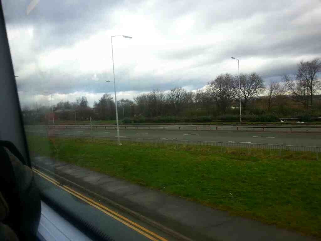 The A6 Broad St seen from a number 8 bus on Bolton Rd