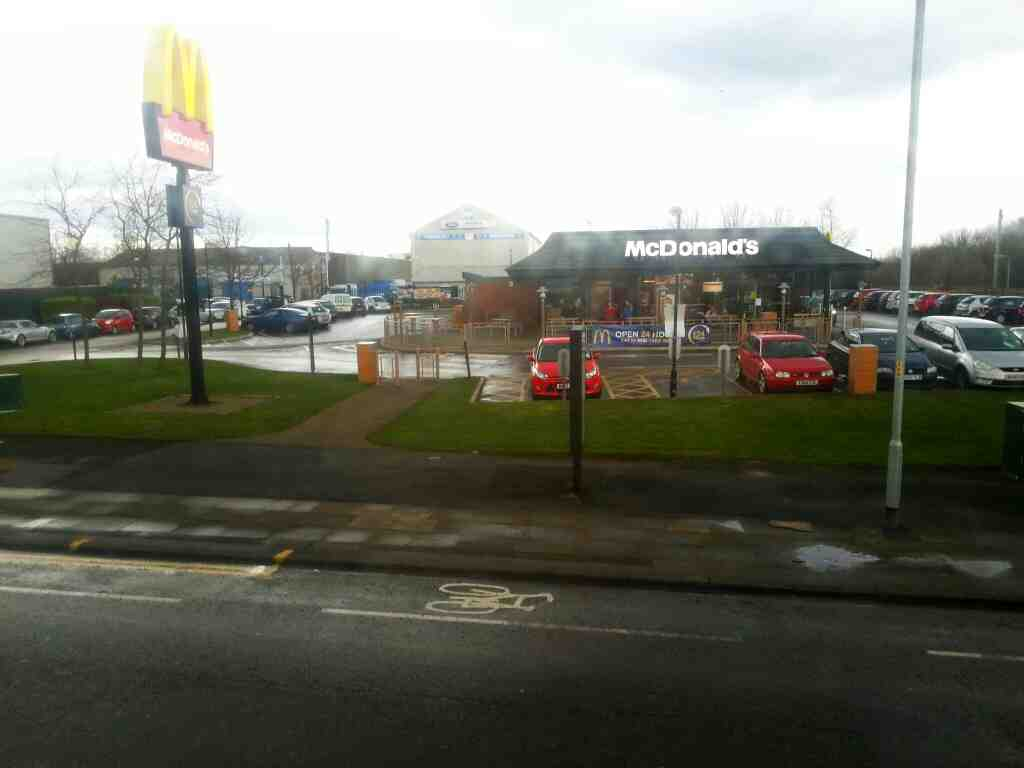 Passes Mc Donalds Pendlebury on a number 8 bus