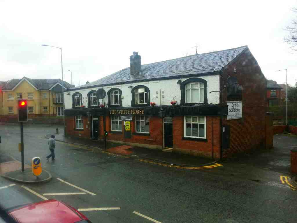 Passing the White Horse pub at the junction of Bolton Road the A666 and and Stoneclough Rd on a number 8 bus