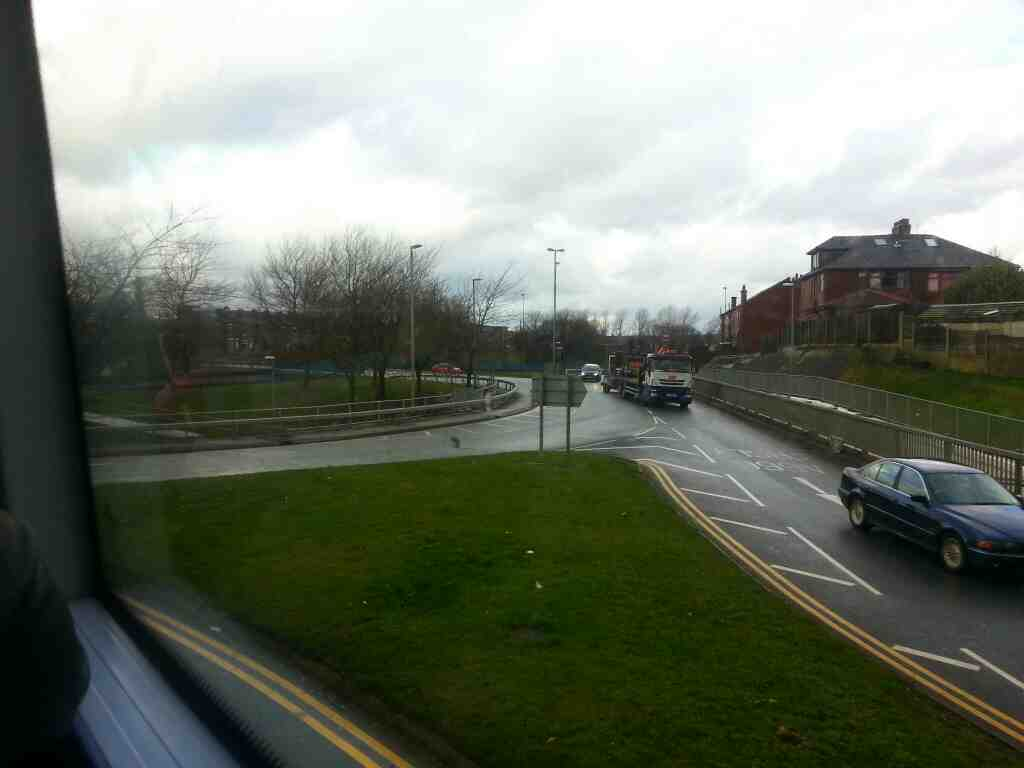 Roundabout where the A666 becomes a dual Carrigeway at Kearsley on a number 8 bus