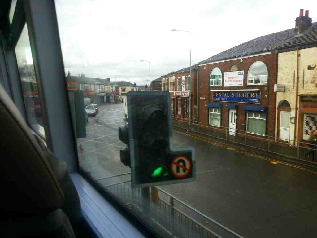 Junction of Long Causeway and Higher Market St Farnworth on a number 8 bus