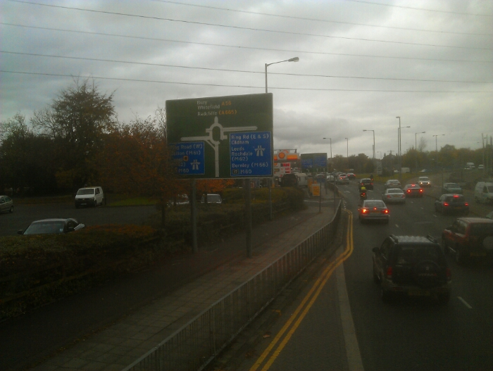Approaching the M60 on the A56.