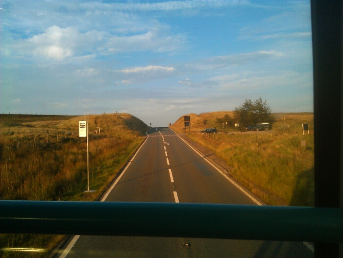 The last bus stop in Greater Manchester Standedge summit A62