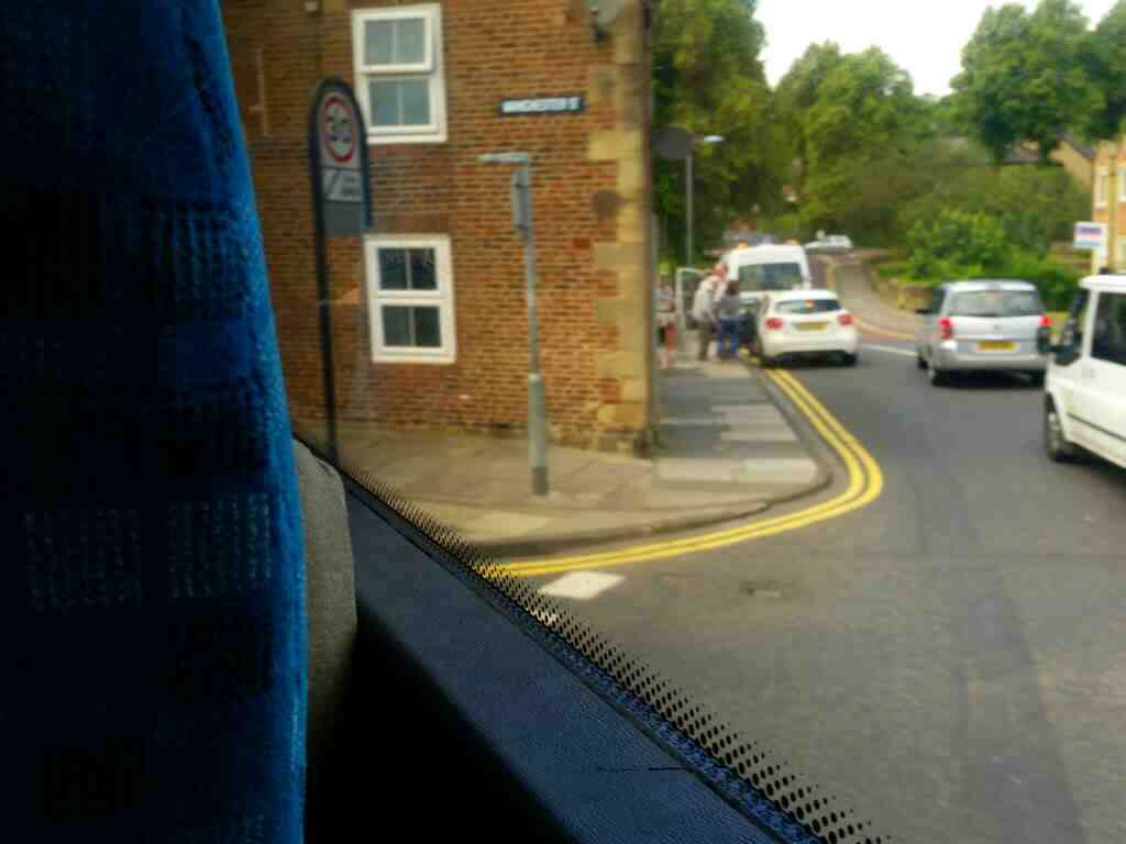 Junction of Well Way and Manchester St Morpeth on a X15 Newcastle to Berwick bus