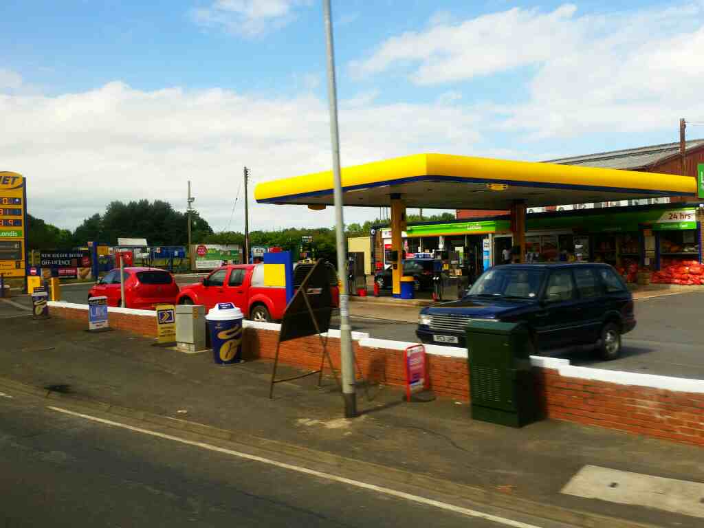 Petrol station A192 Morpeth on a X15 Newcastle to Berwick bus