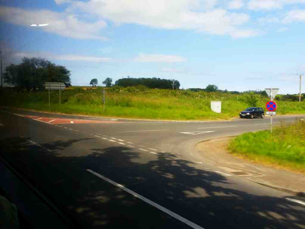 The A1 Low Espley at the junction of the road to Hebron Northumberland on a X15 Newcastle to Berwick bus